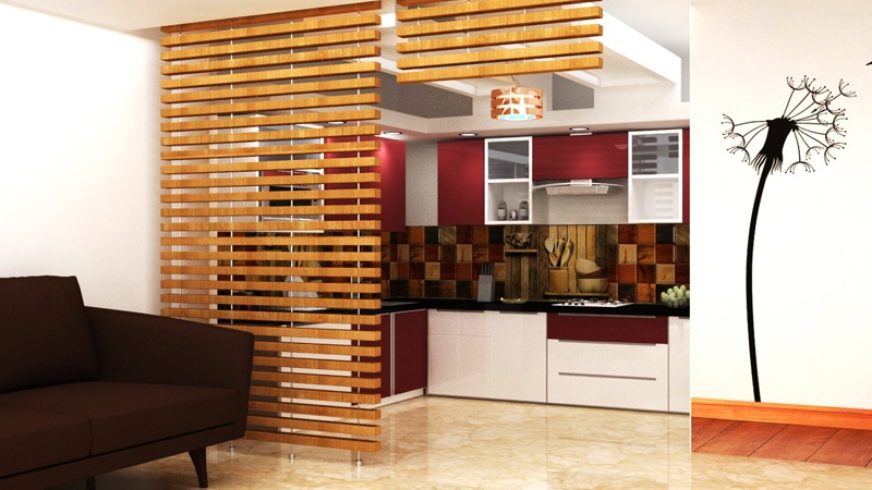 3D modular kitchen Design
